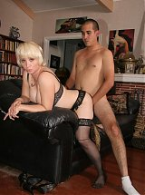 Gina De Palma is a naughty MILF in lingerie on all four and taking a cock in her dripping cooter