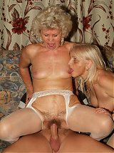 Francesca and Erlene are big titty elderly ladies having a three way with a younger guy